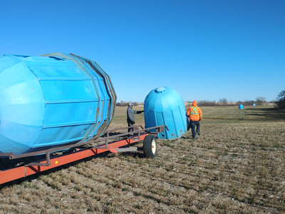 Shifting bee domes to a new field